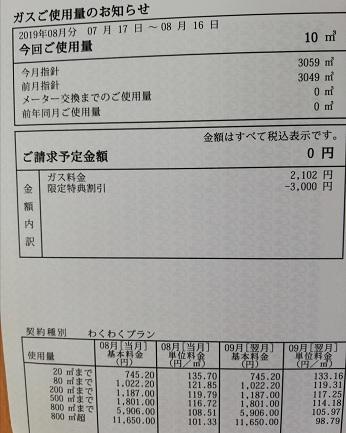 3,000円割引の請求書